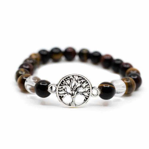Edelsteen Armband Tijgeroog/ Bergkristal met Tree of Life