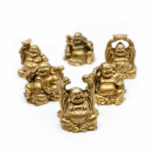 Happy Boeddha Beeld Zittend Polyresin Goudkleurig - set van 6 - ca. 7.5 cm