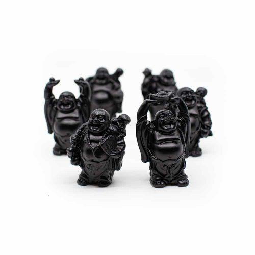 Happy Boeddha Beeld Staand Polyresin Zwart - set van 6 - ca. 7 cm
