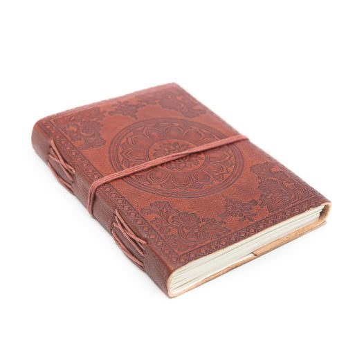 Handgemaakt Leren Notieboekje Lotus OHM (17,5 x 13 cm)