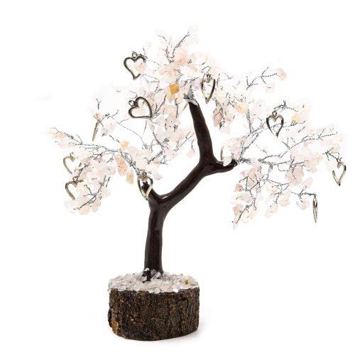 Edelsteenboom Rozenkwarts met Harten - Liefde - (22 cm)