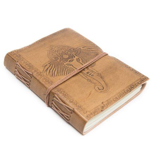 Handgemaakt Leren Notieboekje Ganesha (17,5 x 13 cm)