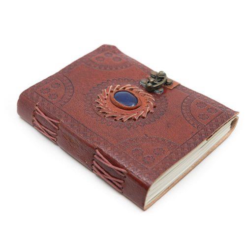 Handgemaakt Leren Notitieboekje met Lapis Lazuli (17,5 x 13 cm)
