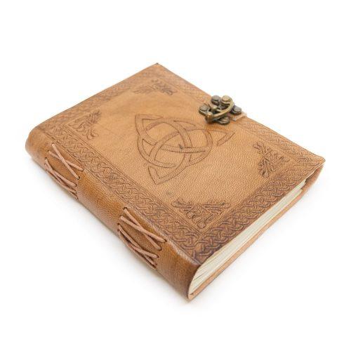 Handgemaakt Leren Notieboekje met Eindeloze Knoop (17,5 x 13 cm)