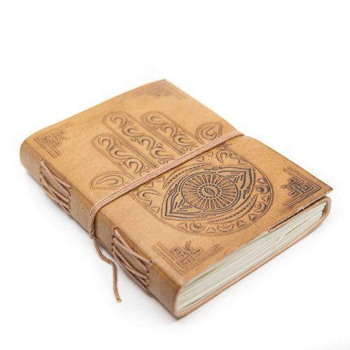 Handgemaakt Leren Notieboekje met Hamsa Hand (17,5 x 13 cm)