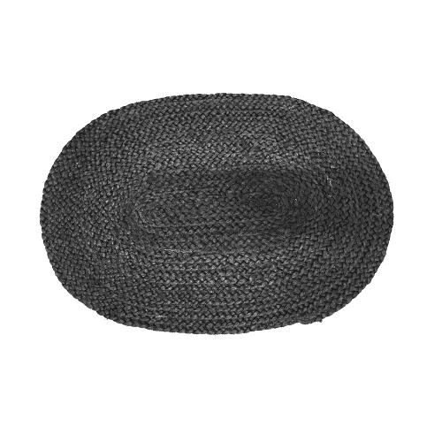 Jute Placemat Hart Ovaal Zwart (50 x 35 cm)