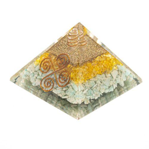 Orgonite Piramide Citrien/ Amazoniet - Vastu - (75 mm)
