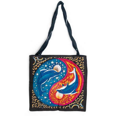 Tote Bag Katoen - Yin Yang Dolfijnen (45 cm)