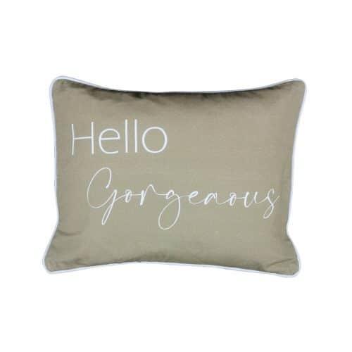 "Katoenen Sierkussen ""Hello Gorgeaous"" (45 x 35 cm)"