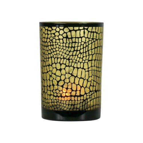 Waxinelichthouder Croco Mat Zwart (18 x 12 cm)