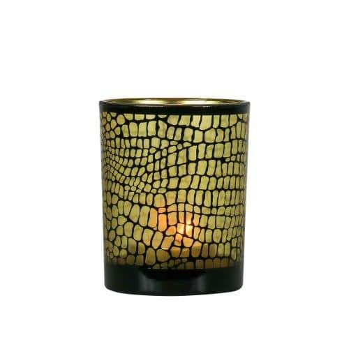 Waxinelichthouder Croco Mat Zwart (12,5 x 10 cm)
