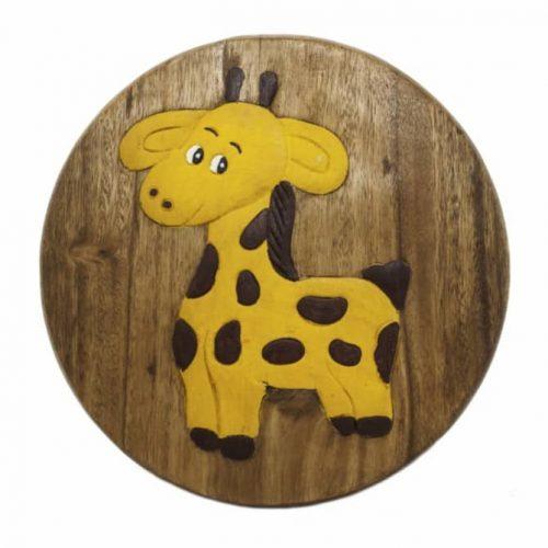 Kinderkrukje met Giraffe (Acaciahout)