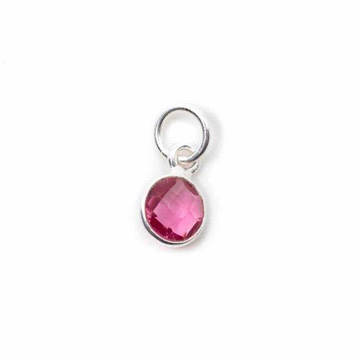 Geboortesteen Hanger Oktober Roze Toermalijn 925 Zilver (6 mm)