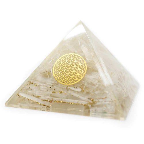Orgonite Piramide Seleniet - Flower of Life - (70 mm)