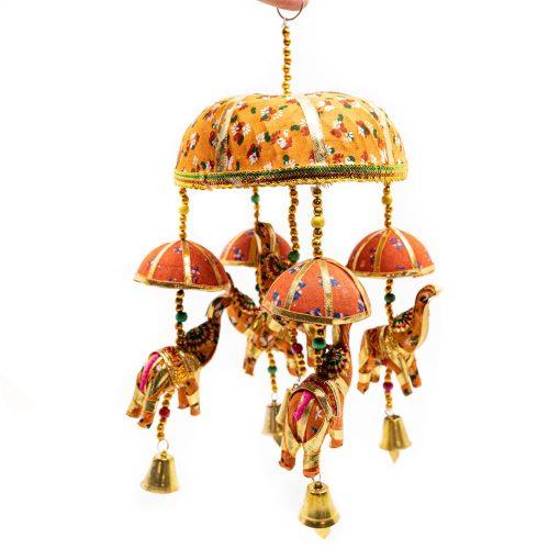 Decoratie Mobiel Stoffen Olifantjes met Belletjes Verrassing (30 cm)