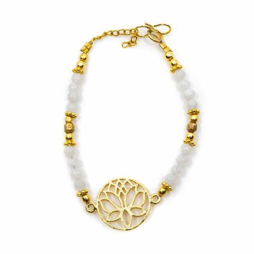 Edelsteen Armband Maansteen met Lotus (20 cm)
