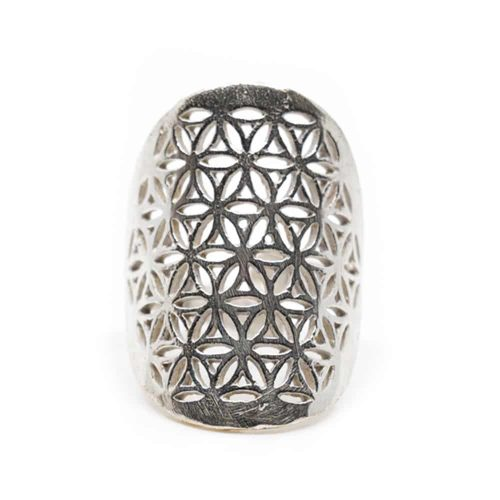 Verstelbare Ring Flower of Life Zilverkleurig (30 mm)