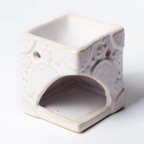Aromabrander voor Smeltkaarsjes Bloemen Wit (8 x 6,5 cm)