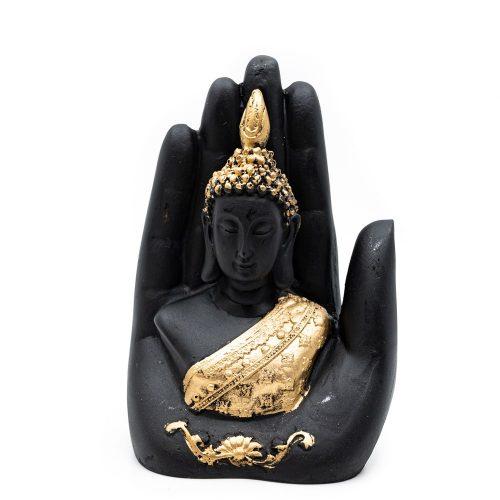 Boeddha in Hand met Goudkleur (15 cm)