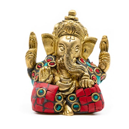 Ganesha Beeld Messing Geverfd (5 cm)