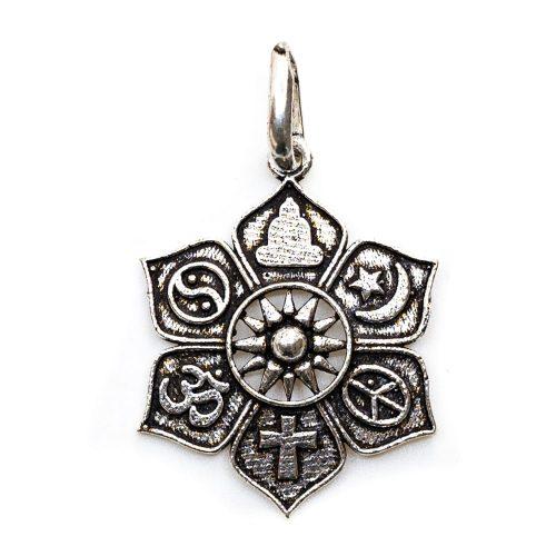 Hanger Lotus met Religieuze Symbolen (28 mm)