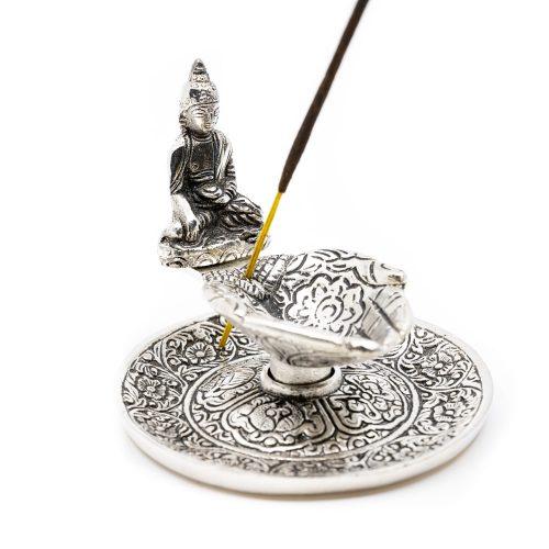 Traditionele Wierook Brander met Boeddha Zilverkleurig
