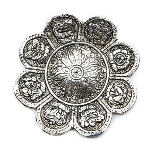 Zilverkleurige Wierookbrander 8 Voorspoedsymbolen (12 cm)