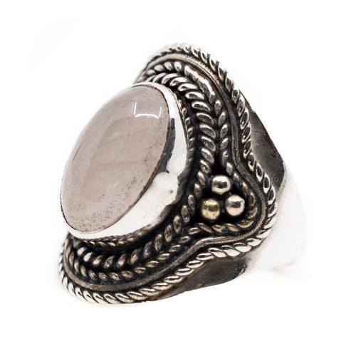 """Edelsteen Ring Rozenkwarts 925 Zilver """"Elare"""" (Maat 17)"""