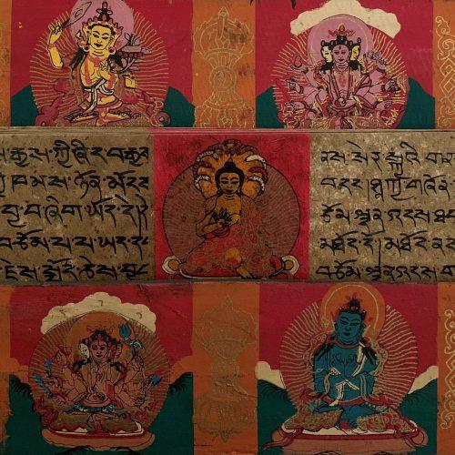 Tibetaans Gebedenboek met handbeschilderde Mantra's en Boeddha's (Model 2)