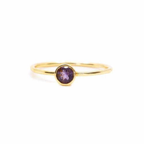 Geboortesteen Ring Amethist Februari - 925 Zilver (Maat 17)