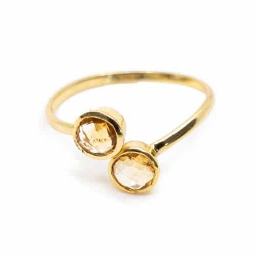Geboortesteen Ring Citrien November - 925 Zilver - Verstelbaar