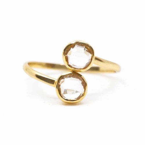Geboortesteen Ring Bergkristal April - 925 Zilver - Verstelbaar