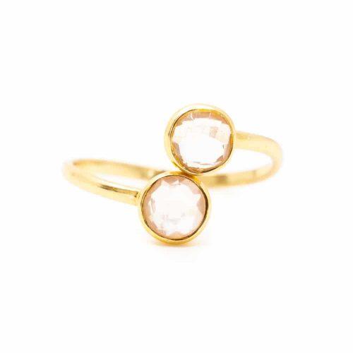 Geboortesteen Ring Rozenkwarts Oktober - 925 Zilver - Verstelbaar