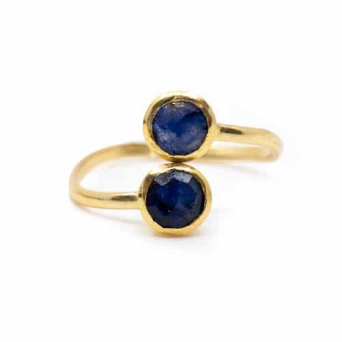 Geboortesteen Ring Saffier September - 925 Zilver - Verstelbaar