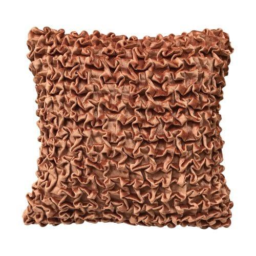 Fluwelen Sierkussen Smock Roestkleurig (45 x 45 cm)
