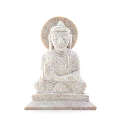 Boeddha Beeld Steen - Antieke Finish - Teaching (10 cm)