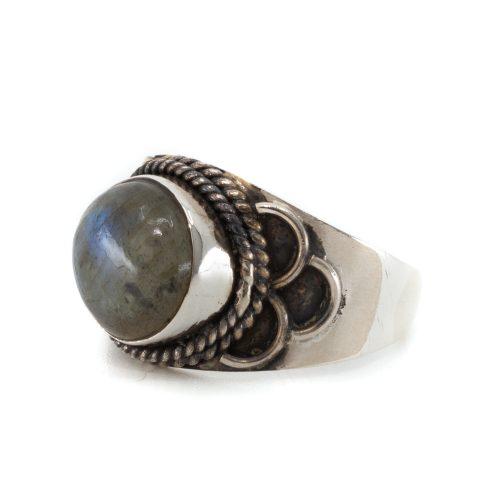 """Edelsteen Ring Labradoriet 925 Zilver """"Jisha"""" (Maat 17)"""