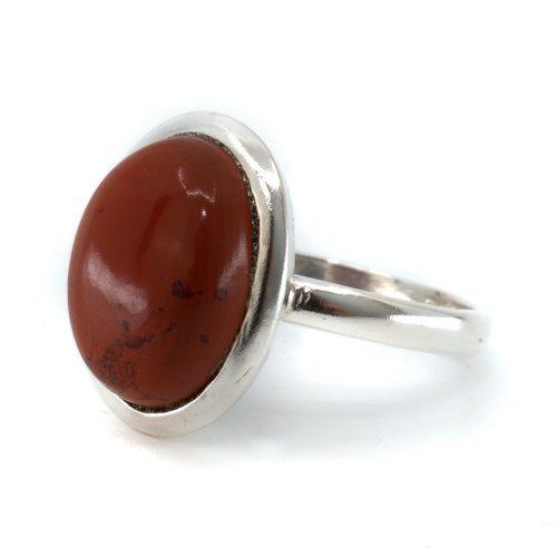 """Edelsteen Ring Rode Jaspis 925 Zilver """"Vaiha"""" (Maat 17)"""
