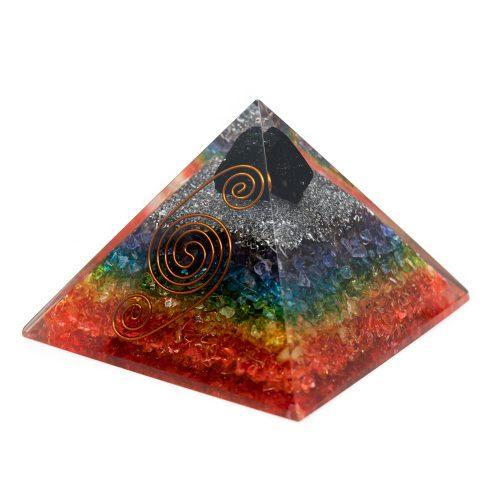 Orgonite Piramide 7 Chakra - Ruwe Zwarte Toermalijn (90 mm)