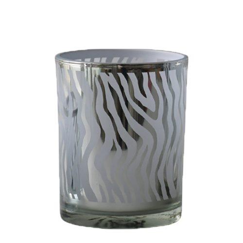 Waxinelichthouder Abstract Zilverkleurig (12,5 x 10 x 10 cm)