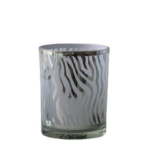 Waxinelichthouder Abstract Zilverkleurig (8 x 7 x 7 cm)