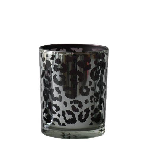 Waxinelichthouder Luipaard Zilverkleurig (8 x 7 x 7 cm)