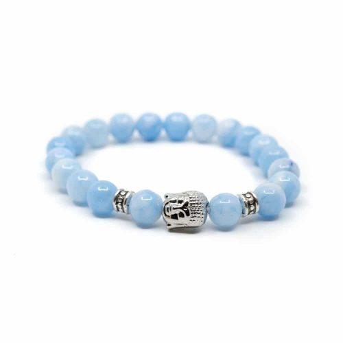 Edelsteen Armband Blauwe Agaat met Boeddha