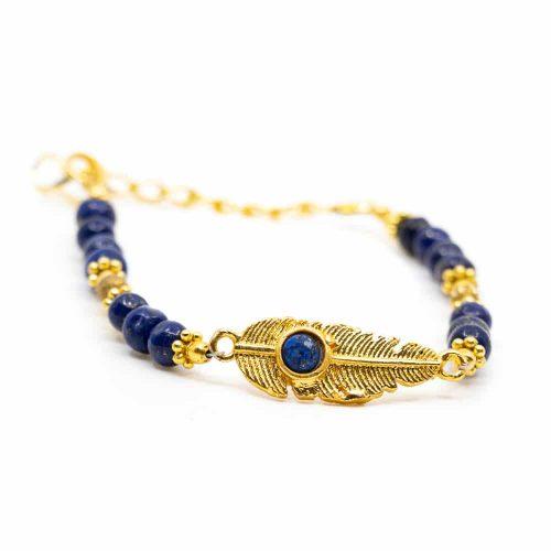 Edelsteen Armband Lapis Lazuli met Veer (20 cm)