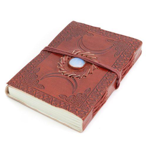 Handgemaakt Leren Notieboekje met Opaliet (17,5 x 13 cm)