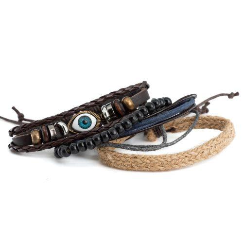 Armband Bohemian Boze Oog met Touw