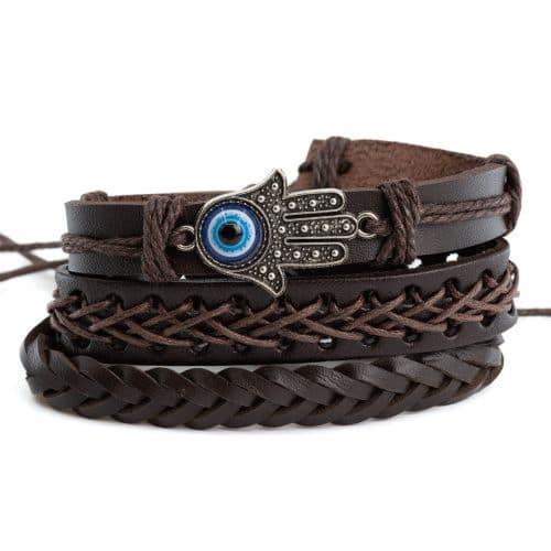 Armband Bohemian Kunstleer Hamsa Hand