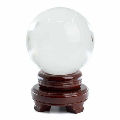 Feng Shui Kristallen Bol met Houten Voet (100 mm)