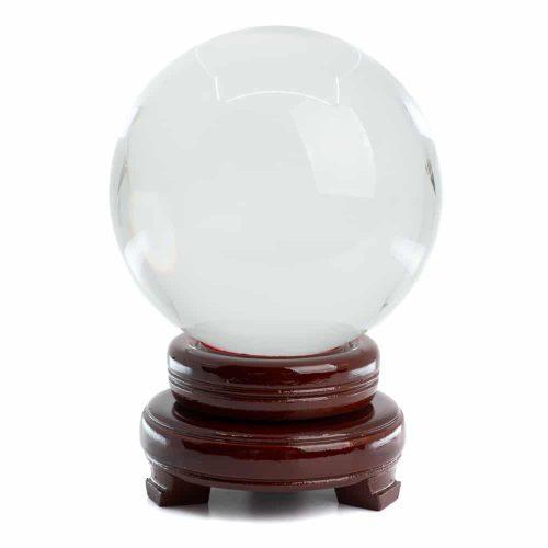 Feng Shui Kristallen Bol met Houten Voet (120 mm)