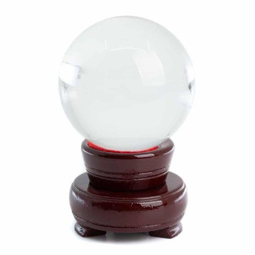 Feng Shui Kristallen Bol met Houten Voet (60 mm)